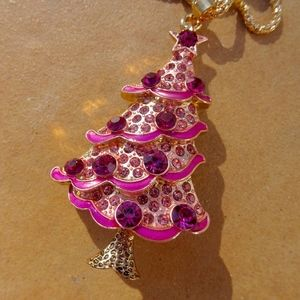 Pink Jewel Christmas Tree Chic Holiday Necklace